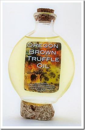 Brown truffle oil bottle