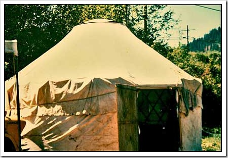 Old photo of a yurt