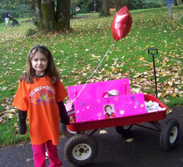 Anna and her wagon at the 2011 Walk for Children with Apraxia of Speech, Salem OR