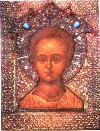 Plated and jewelled icon of Christ Emmanuel.