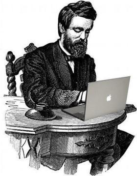 19th Century gentleman with 21 century MacBook