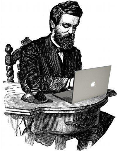 19th Century gentleman with 21 century MacBook