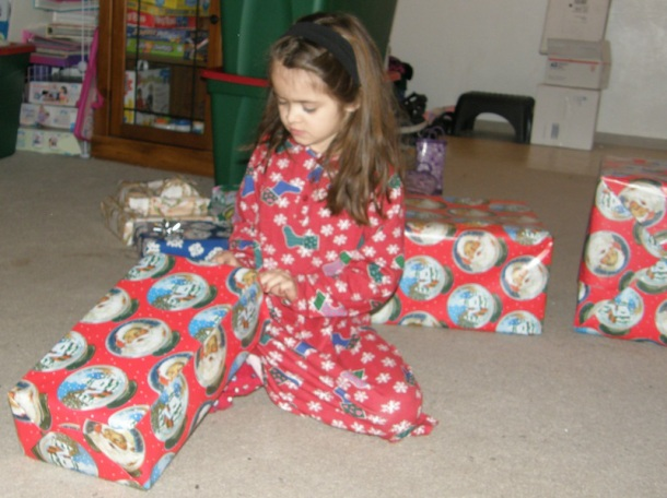 Anna opening presents
