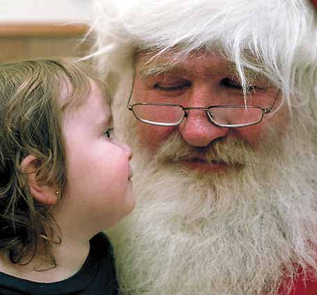Santa and a little girl