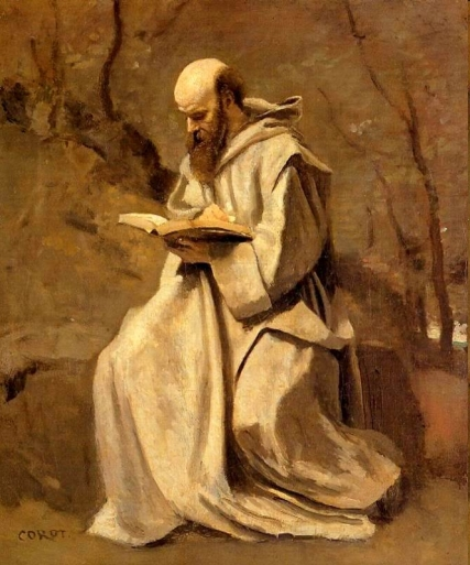Monk in White, Seated, Reading