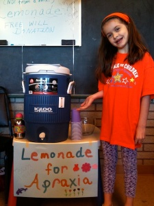 Anna and her lemonade stand.