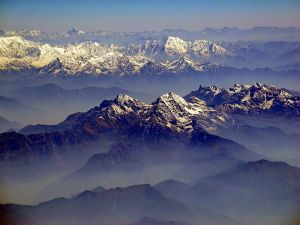 The Annapurna range of the Himalayas.