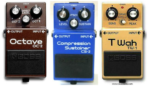 Boss OC-2, CS-2, and TW-1 vintage pedals.
